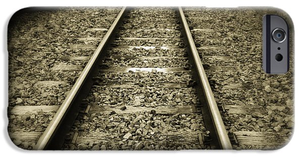 Railway iPhone Cases - Railway tracks iPhone Case by Les Cunliffe