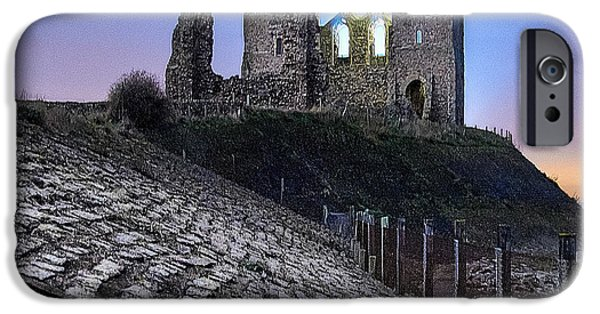 Ruin iPhone Cases - Reculver Towers at Night. iPhone Case by Ian Hufton