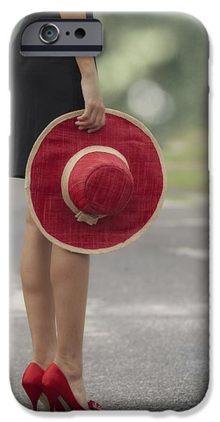 Hat iPhone Cases - Red Sun Hat iPhone Case by Joana Kruse