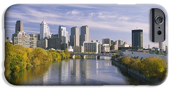 Schuylkill iPhone Cases - Reflection Of Buildings In Water iPhone Case by Panoramic Images