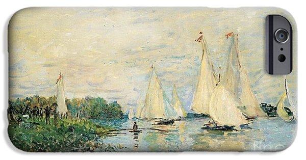 Regatta iPhone Cases - Regatta at Argenteuil iPhone Case by Claude Monet