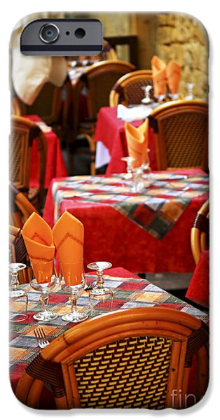 Table Wine iPhone Cases - Restaurant patio in France iPhone Case by Elena Elisseeva