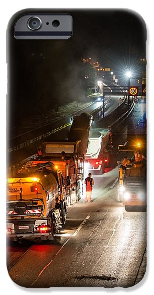 Recently Sold -  - Asphalt iPhone Cases - Road Works - Removal Of Old Asphalt Pavement At Night iPhone Case by Frank Gaertner