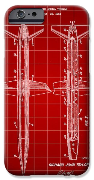 Jet-propelled iPhone Cases - Rocket Patent 1953 - Red iPhone Case by Stephen Younts