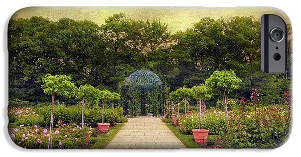 Botanical Digital Art iPhone Cases - Rose Garden Gazebo iPhone Case by Jessica Jenney