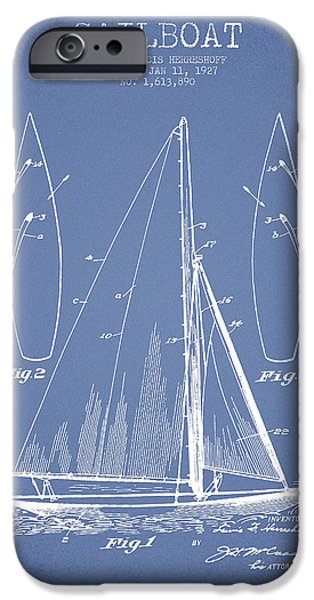 Sailboat Digital Art iPhone Cases - Sailboat Patent Drawing From 1927 iPhone Case by Aged Pixel