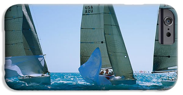 Sailboat Ocean iPhone Cases - Sailboat Racing In The Ocean, Key West iPhone Case by Panoramic Images
