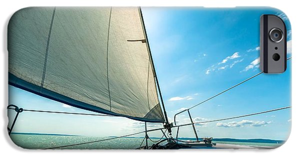Sailboat Pyrography iPhone Cases - Sailing boat on the water iPhone Case by Oliver Sved
