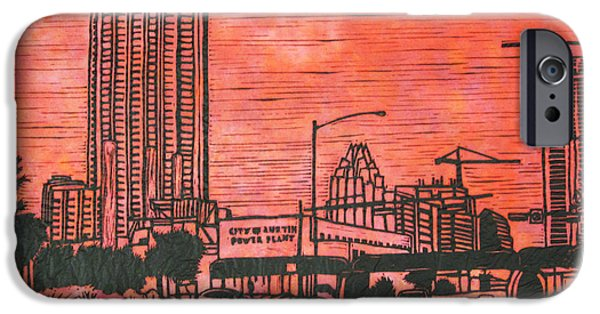 Linoluem Drawings iPhone Cases - Seaholm iPhone Case by William Cauthern
