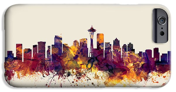 United States iPhone Cases - Seattle Washington Skyline iPhone Case by Michael Tompsett
