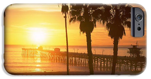 Clemente iPhone Cases - Silhouette Of A Pier, San Clemente iPhone Case by Panoramic Images