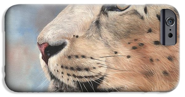 David iPhone Cases - Snow Leopard iPhone Case by David Stribbling