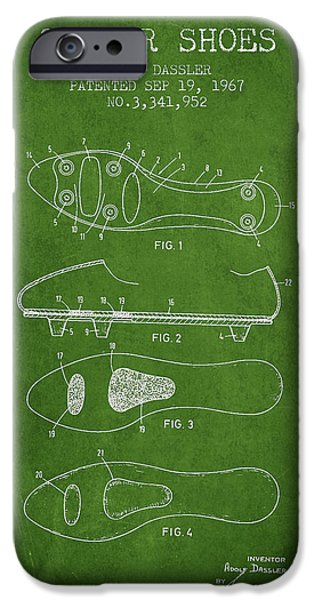 Soccer iPhone Cases - Soccer Shoe Patent from 1967 iPhone Case by Aged Pixel