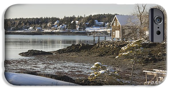Maine Seascapes iPhone Cases - South Bristol on the coast of Maine iPhone Case by Keith Webber Jr
