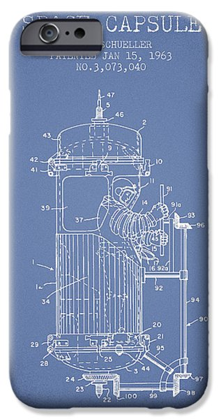 Capsule iPhone Cases - Space Capsule Patent from 1963 iPhone Case by Aged Pixel