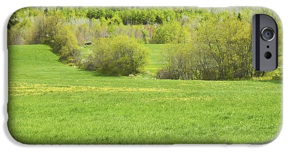 Maine Farms iPhone Cases - Spring Farm Landscape in Maine iPhone Case by Keith Webber Jr