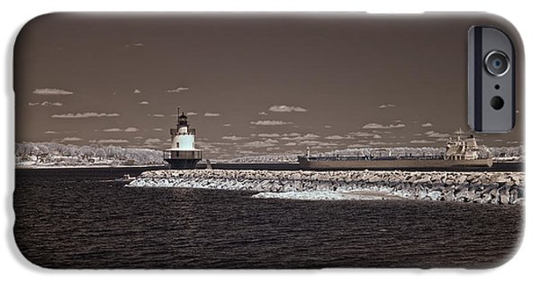 Old Maine Houses iPhone Cases - Spring Point Ledge Light iPhone Case by Joann Vitali