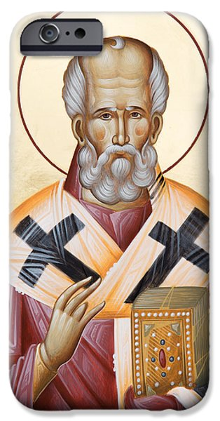 St Nicholas Icon iPhone Cases - St Nicholas of Myra iPhone Case by Julia Bridget Hayes