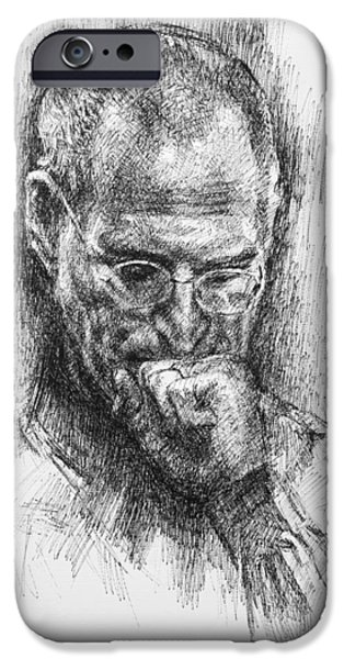 Chairmen iPhone Cases - Steve Jobs iPhone Case by Ylli Haruni
