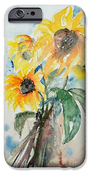 Ismeta iPhone Cases - Sunflowers iPhone Case by Ismeta Gruenwald