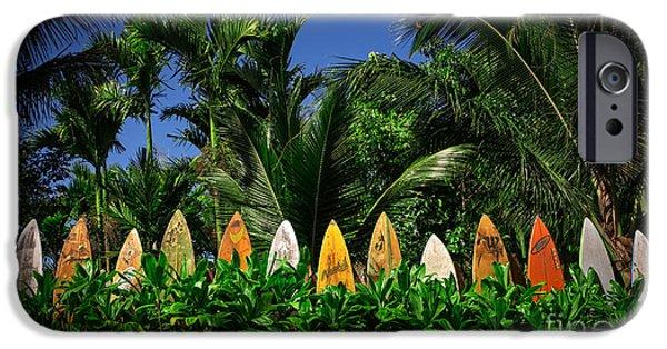 Board iPhone Cases - Surf Board Fence Maui Hawaii iPhone Case by Edward Fielding