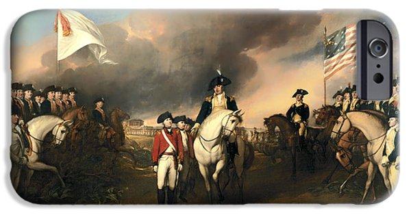 Yorktown Virginia iPhone Cases - Surrender of Lord Cornwallis iPhone Case by John Trumbull
