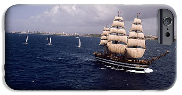 Tall Ship iPhone Cases - Tall Ship In The Sea, Puerto Rico iPhone Case by Panoramic Images