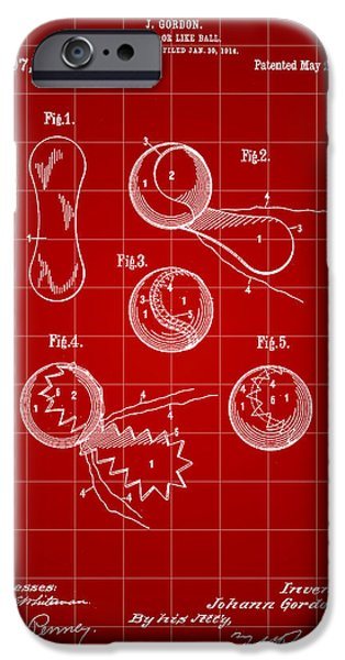 Federer iPhone Cases - Tennis Ball Patent 1914 - Red iPhone Case by Stephen Younts