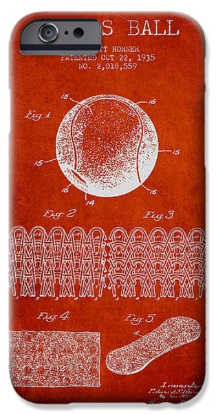 Tennis iPhone Cases - Tennnis Ball Patent Drawing from 1935 iPhone Case by Aged Pixel