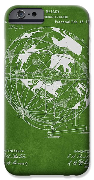 Global Greens iPhone Cases - Terrestro Sidereal Globe Patent Drawing From 1886 iPhone Case by Aged Pixel