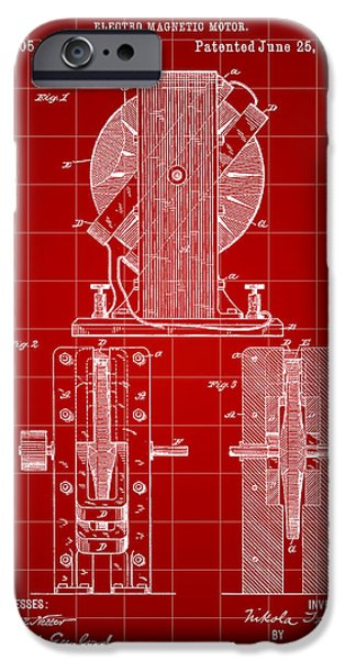 Capacitors iPhone Cases - Tesla Electro Magnetic Motor Patent 1889 - Red iPhone Case by Stephen Younts