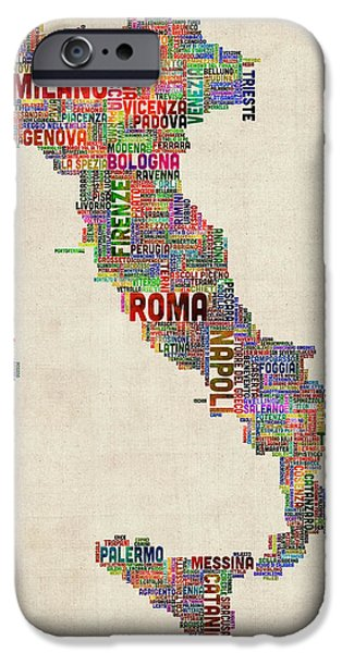 Text Map iPhone Cases - Text Map of Italy Map iPhone Case by Michael Tompsett