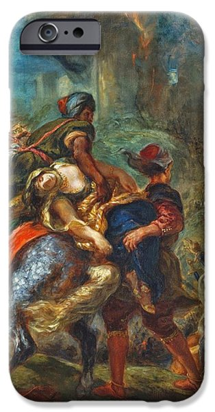 Delacroix iPhone Cases - The Abduction of Rebecca iPhone Case by Celestial Images