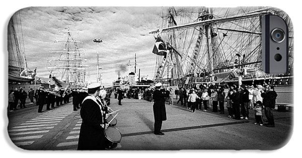 Tall Ship iPhone Cases - the argentine navy band perform during in Ushuaia Argentina part of velas latinoamerican 2014 iPhone Case by Joe Fox