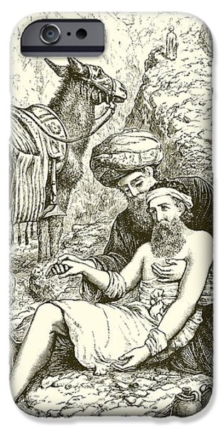 Biblical Drawings iPhone Cases - The Good Samaritan iPhone Case by English School