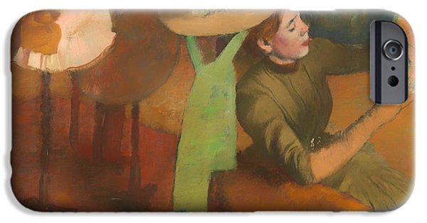 Business Paintings iPhone Cases - The Millinery Shop iPhone Case by Edgar Degas