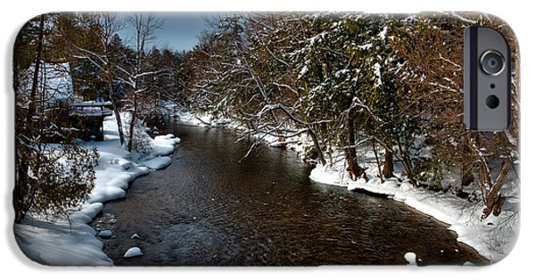 Snow Scene iPhone Cases - The Moose River In Old Forge iPhone Case by David Patterson