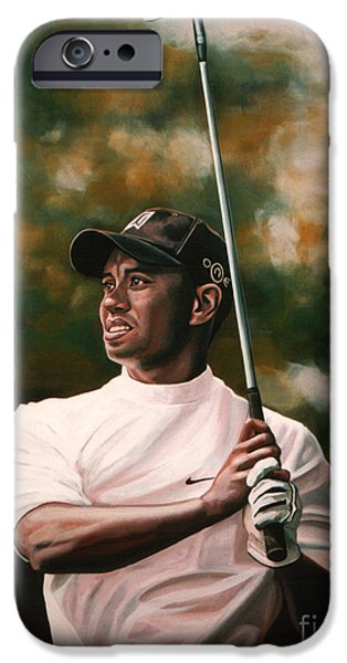 Sports Paintings iPhone Cases - Tiger Woods  iPhone Case by Paul  Meijering