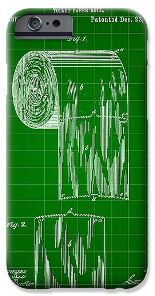 Ply iPhone Cases - Toilet Paper Roll Patent 1891 - Green iPhone Case by Stephen Younts