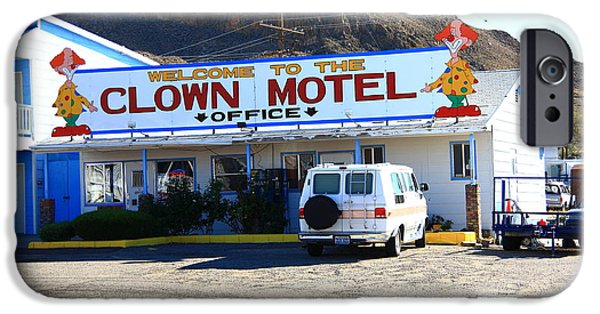 Juggling Photographs iPhone Cases - Tonopah Nevada - Clown Motel iPhone Case by Frank Romeo