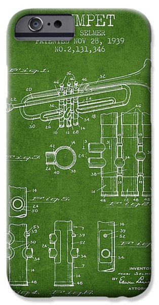Trumpet iPhone Cases - Trumpet Patent from 1939 - Green iPhone Case by Aged Pixel