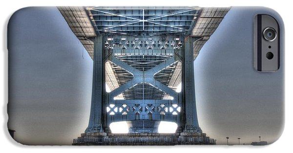 Boat iPhone Cases - Under the Bridge - Ben Franklin, Philadelphia iPhone Case by Mark Ayzenberg