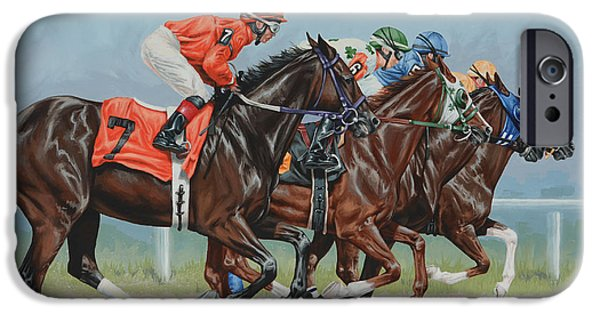 Race Horse Paintings iPhone Cases - Untitled  iPhone Case by Lesley Alexander