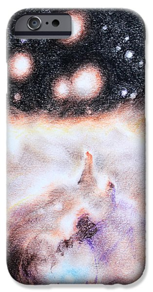 Outer Space Drawings iPhone Cases - Untitled iPhone Case by Theresa Hentz