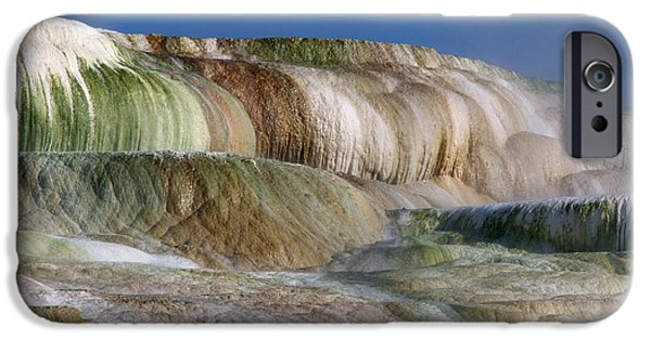 Mammoth Terrace iPhone Cases - Upper Terrace At Mammoth Hot Springs iPhone Case by Tracy Knauer