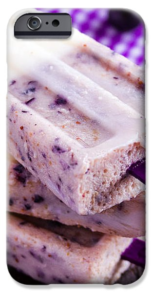Vanilla and Blueberry Popsicles iPhone Case by Teri Virbickis