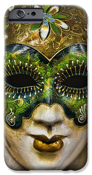Interface iPhone Cases - Venetian Carnaval Mask iPhone Case by David Smith