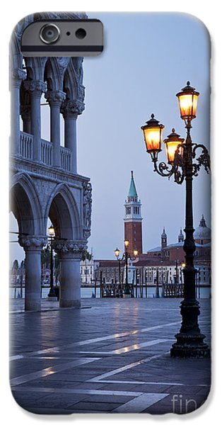 Night Lamp iPhone Cases - Venice Dawn iPhone Case by Brian Jannsen
