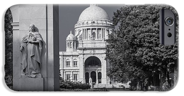 Monochrome Pyrography iPhone Cases - Victoria Memorial Hall iPhone Case by Debrup Chatterjee