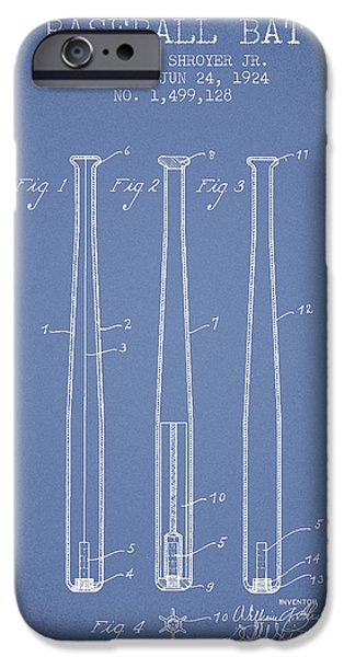 Baseball Glove iPhone Cases - Vintage Baseball Bat Patent from 1924 iPhone Case by Aged Pixel